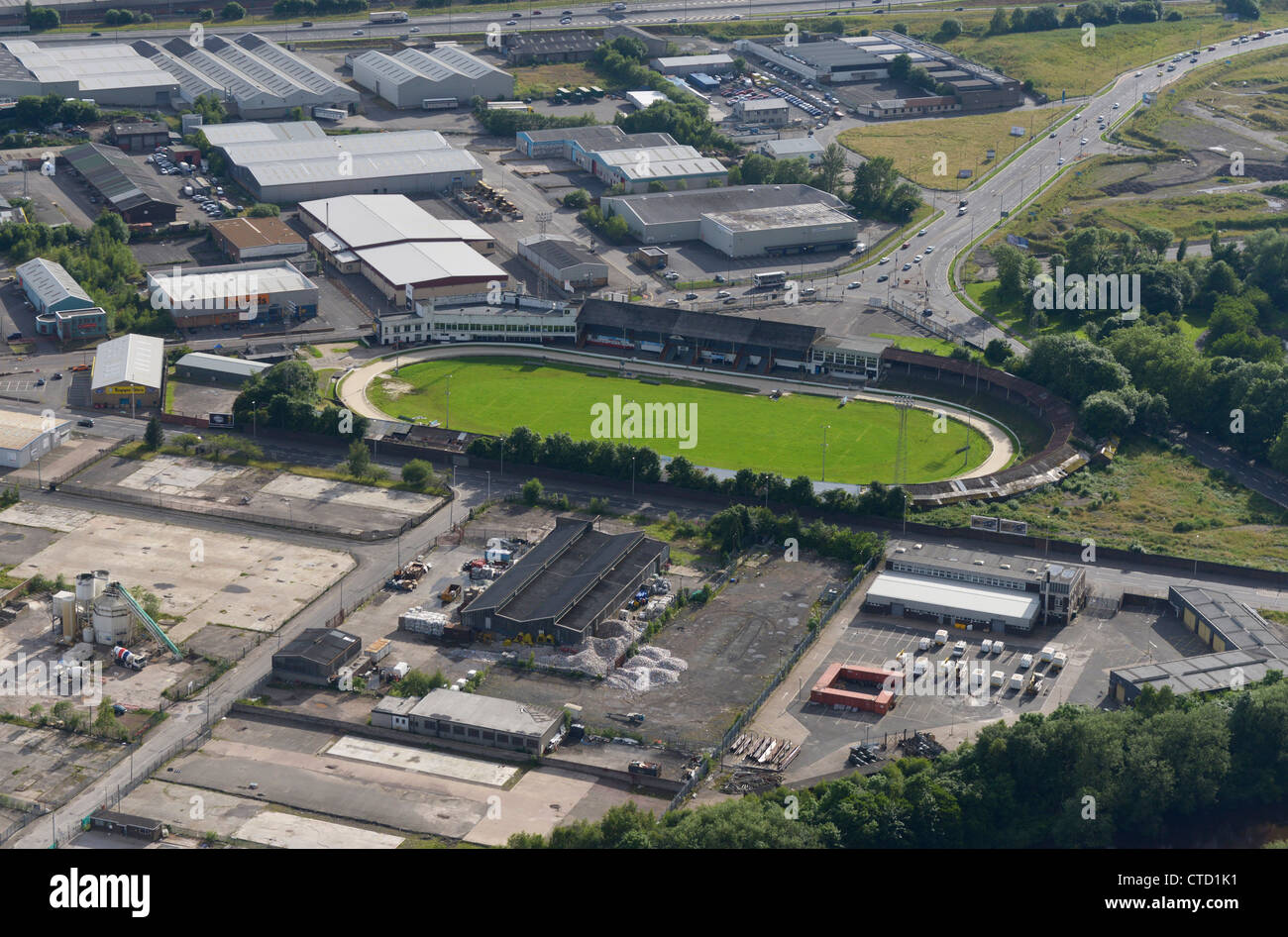 Aerial view Shawfield Stadium greyhound racing venue in the town of Rutherglen, South Lanarkshire, Glasgow. - Stock Image