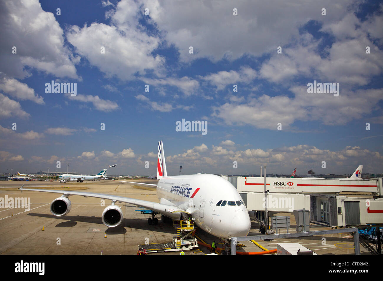 Air France Airbus A380 standing outside Terminal 4, Heathrow Airport, London, England, UK, United Kingdom, GB, - Stock Image