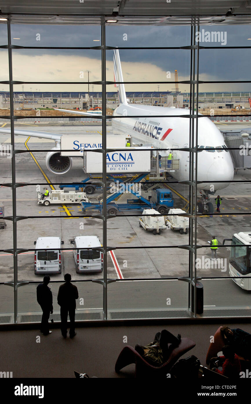Air France Airbus A380 standing at Charles de Gaulle CDG Airport, Paris, France, Europe - Stock Image
