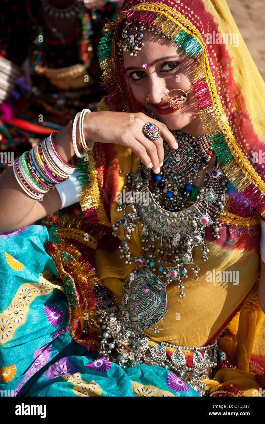 A beautiful Indian woman with traditional ornaments and dresses at Pushkar fair,Rajastan,India. Stock Photo
