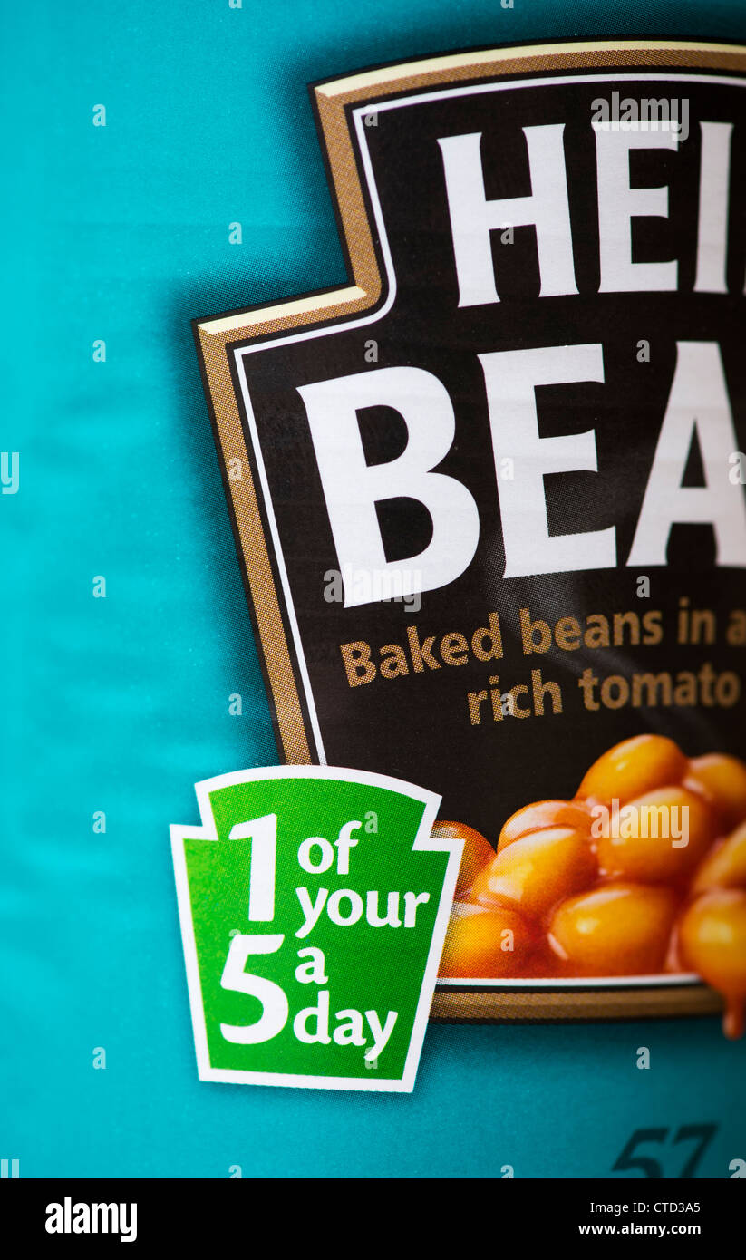 1 of your 5 a day label on a tin of Heinz Baked Beans Stock Photo