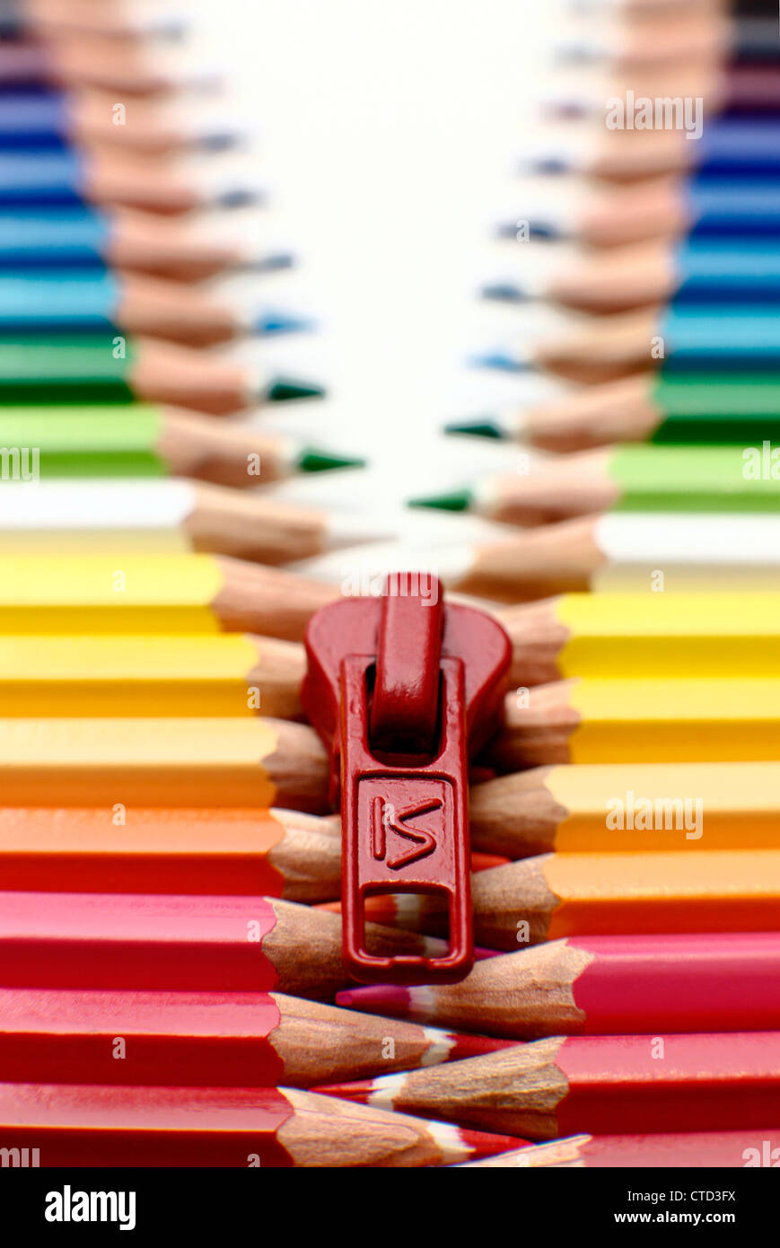 Pencil zip made of pencils in a row - Stock Image