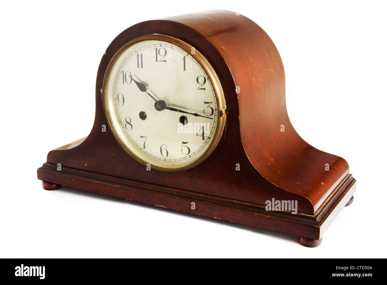 Antique wooden clock on a white background Stock Photo