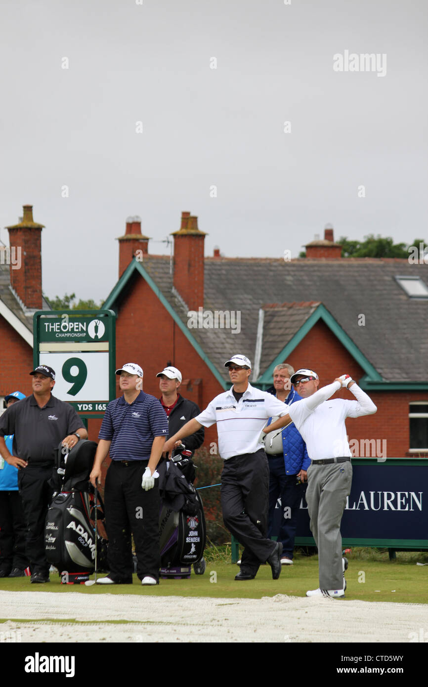 British Open Golf Championship at Royal Lytham and St. Annes 2012. 9th tee Chad Campbell, John Senden, Robert Allenby - Stock Image