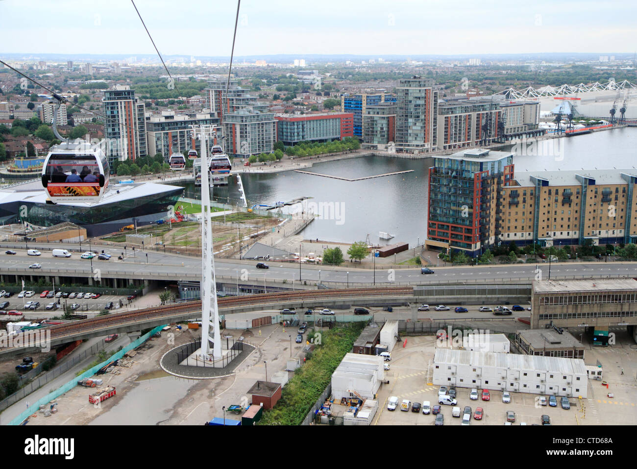 Royal Victoria dock from Emirates Air Line cable car, Docklands, London, UK - Stock Image