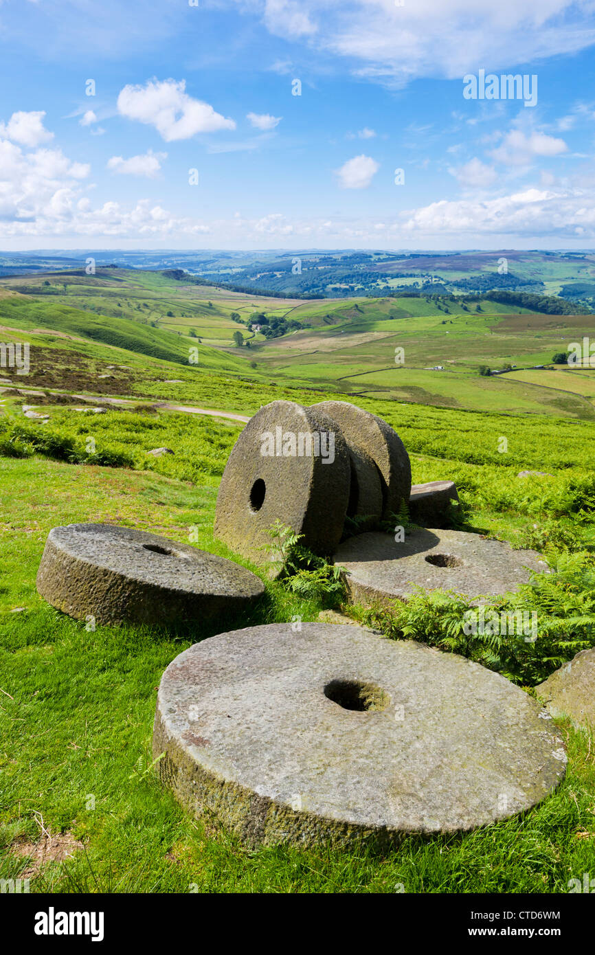 Abandoned Millstones Stanage Edge Peak District Derbyshire England UK gb eu europe - Stock Image