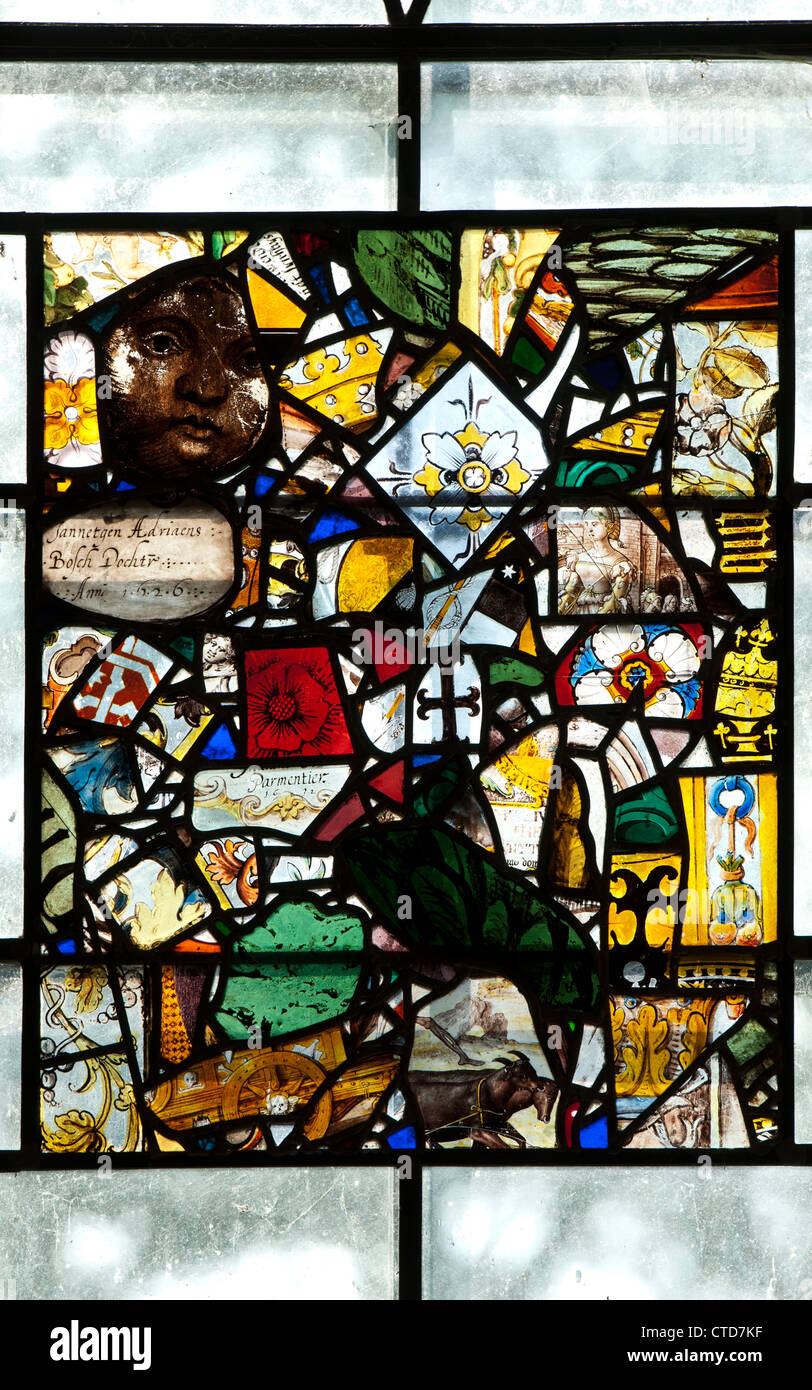 Medieval stained glass fragments, St. Nicholas Church, Stanford on Avon, Northamptonshire, UK - Stock Image