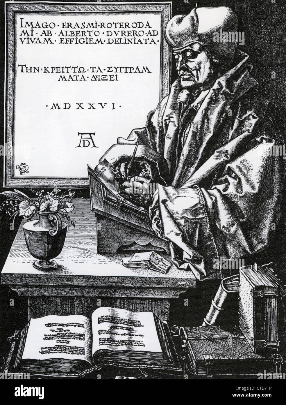 DESIDERIUS ERASMUS (c 1466-1536) Dutch Renaissance humanist in a woodcut by Albrecht Durer - Stock Image