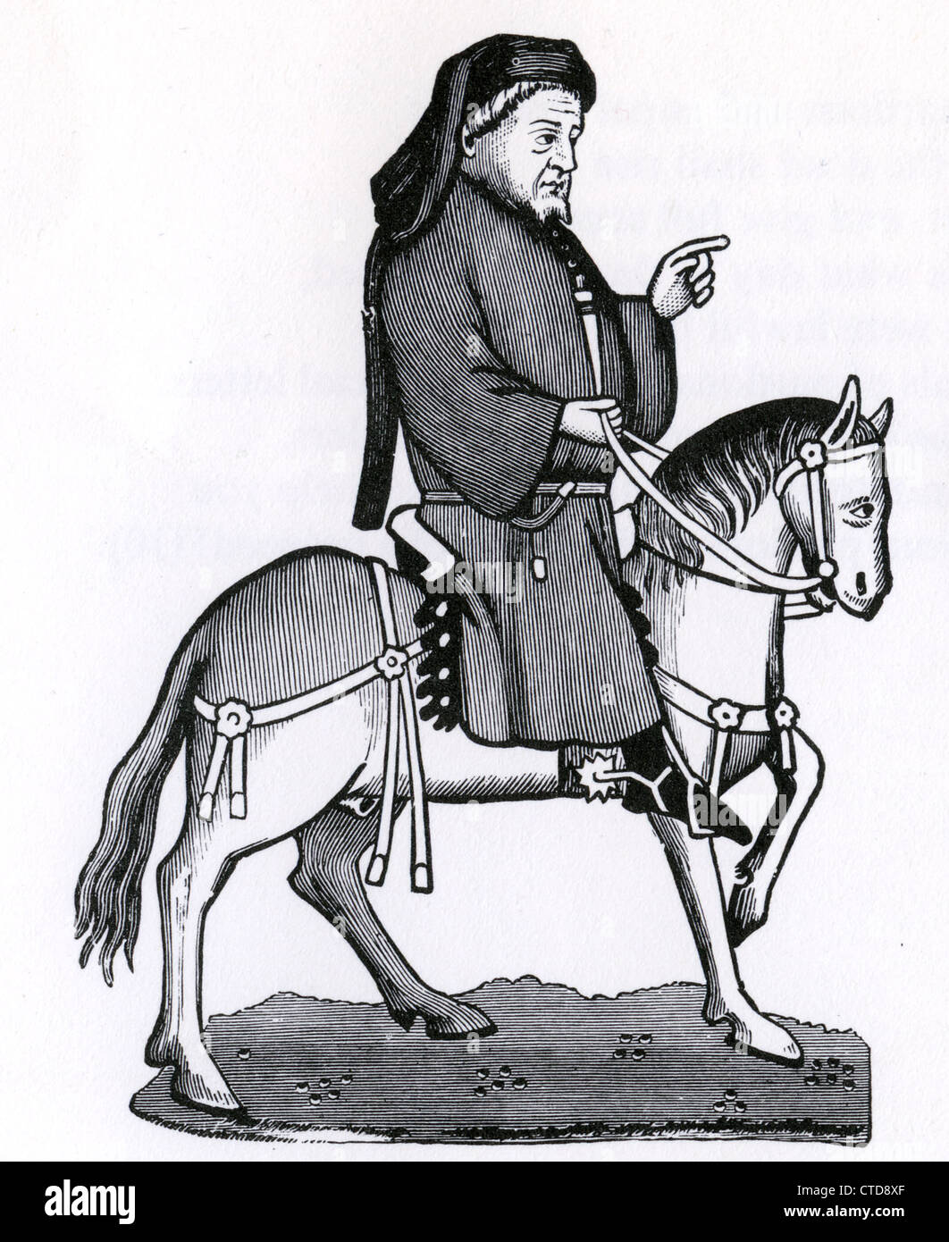 GEOFFREY CHAUCER (c 1343-1400) from an early edition of his Canterbury Tales Stock Photo