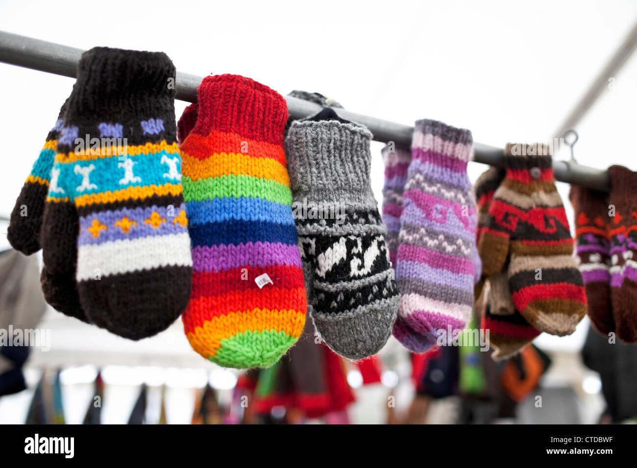 Handmade wool mittens - Stock Image