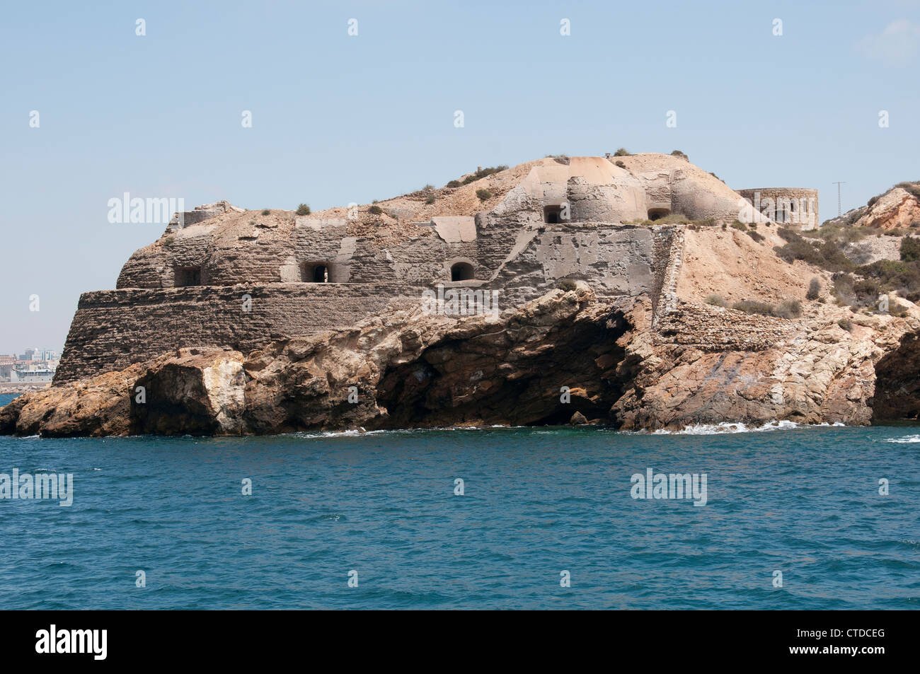 Coastal fortifications Cartagena Harbour southern Spain - Stock Image