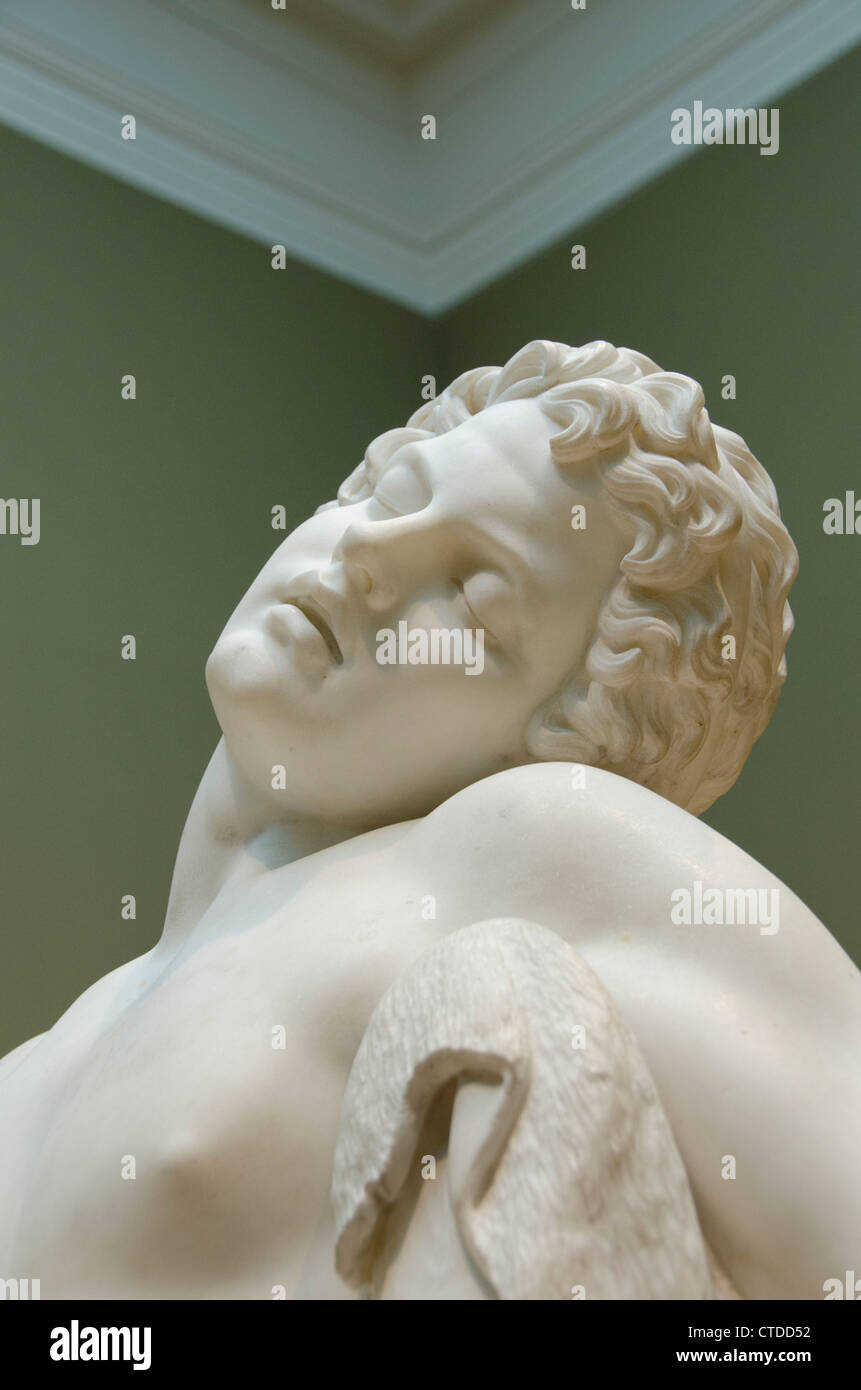 Ohio, Cleveland. The Cleveland Museum of Art. Marble sculpture, The Sleeping Faun, American c. 1870, by Harriet Stock Photo