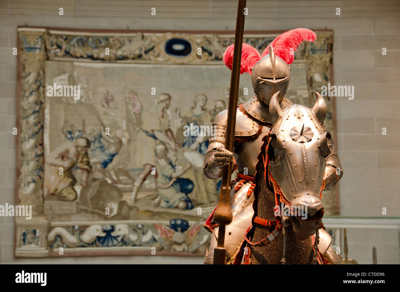 Ohio, Cleveland. The Cleveland Museum of Art. Steel armor. Stock Photo