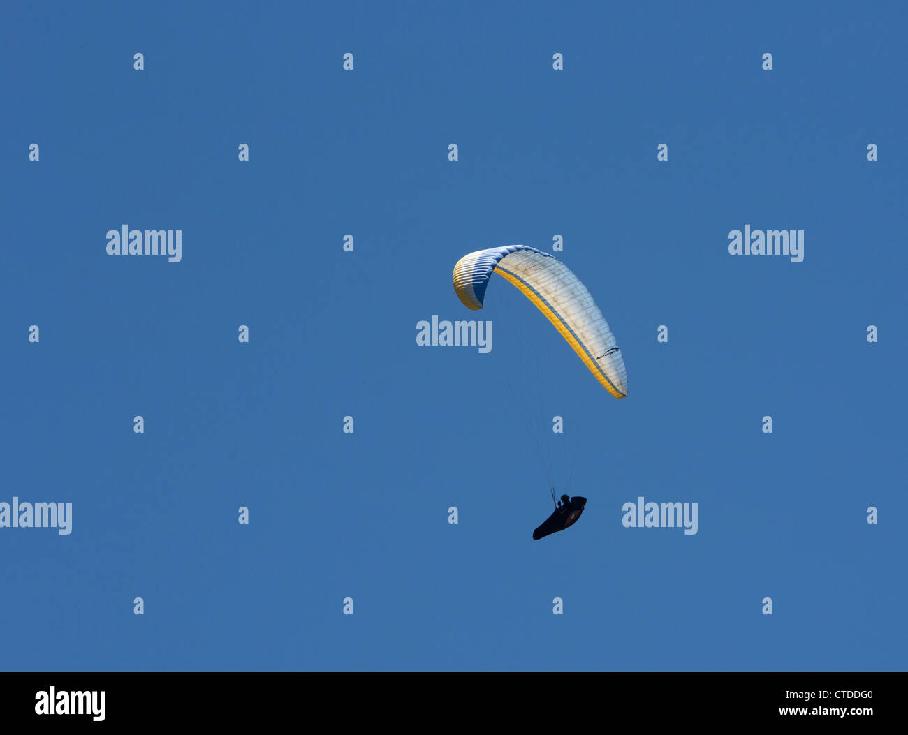 Twin Peaks, California - A paraglider soars above the San Gabriel Valley. Stock Photo