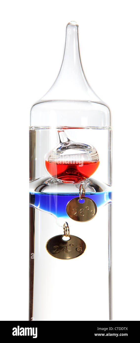 Galileo thermometer on the white background - Stock Image