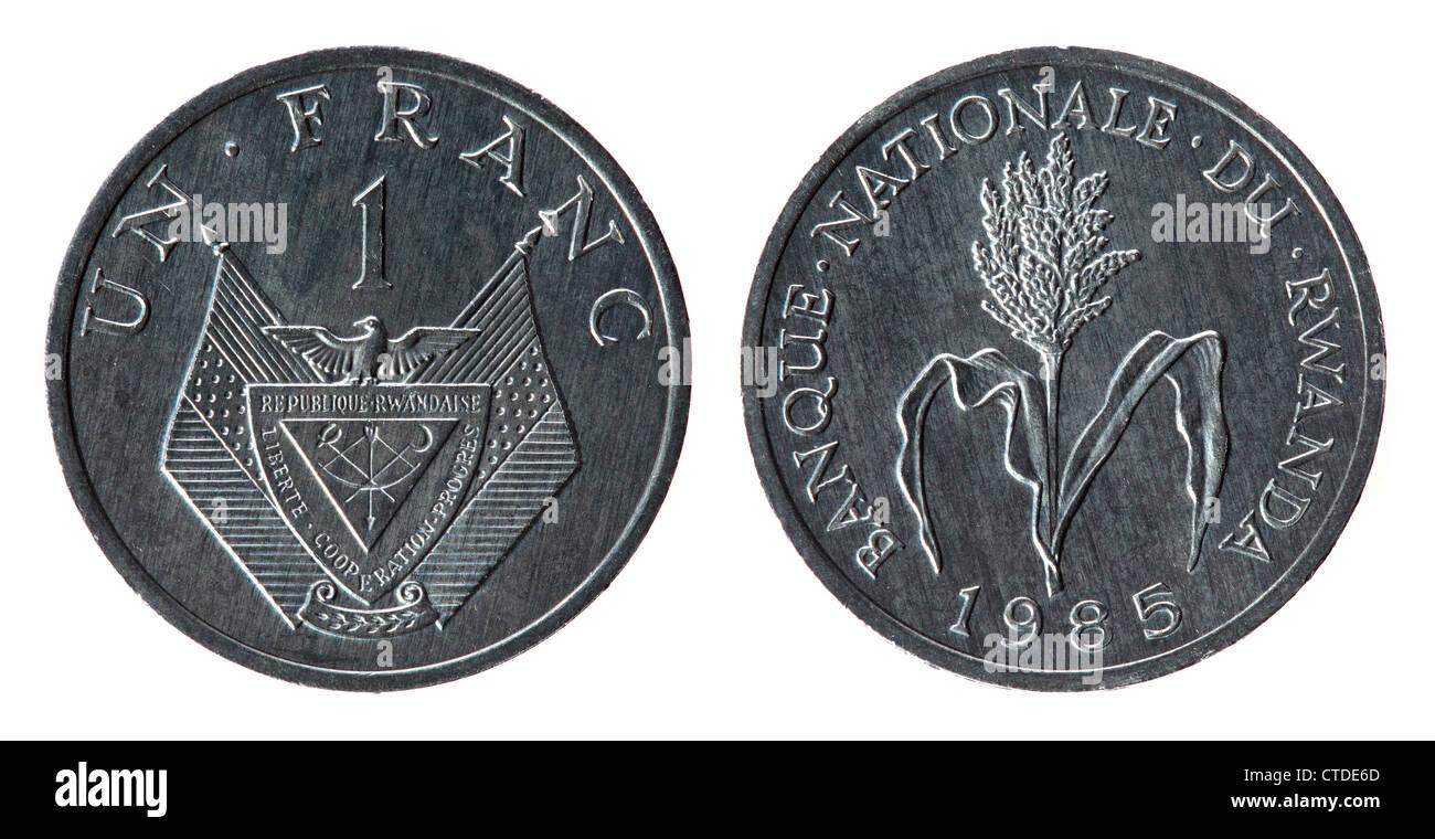 Rwanda Coin on the white background (1985 year) - Stock Image