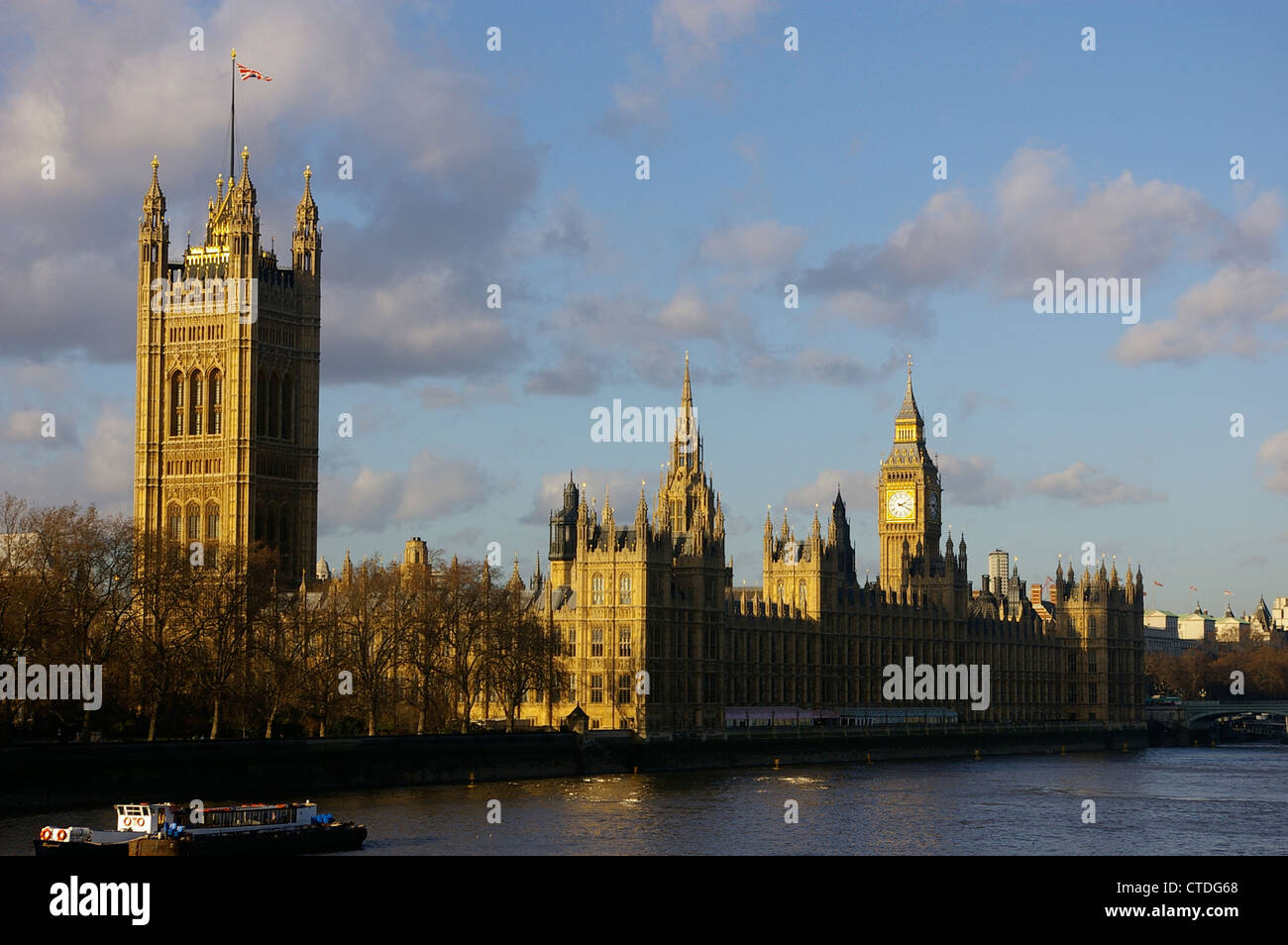 The Palace of Westminster from the River Thames, with Big Ben in the background - Stock Image
