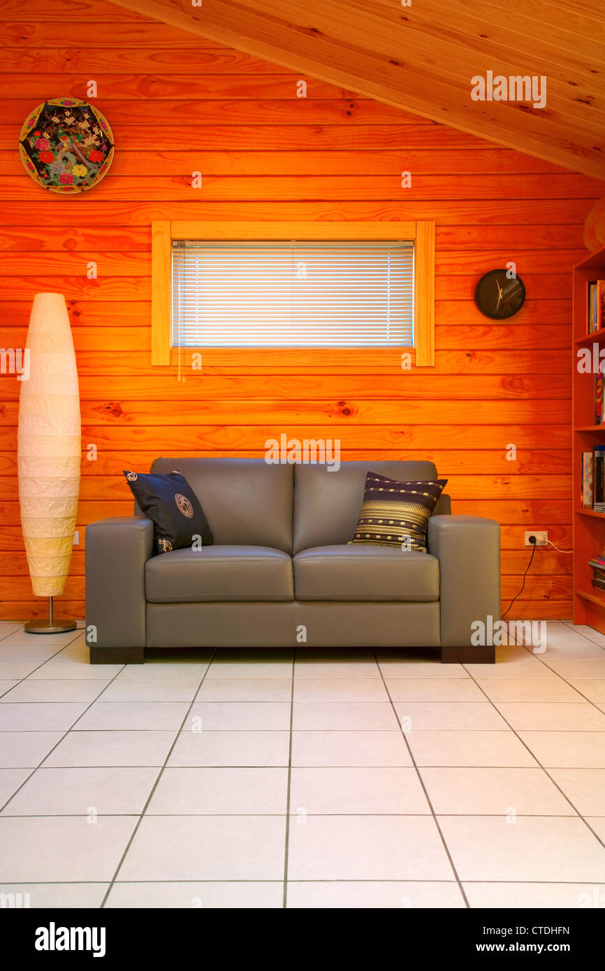 timber home interior - Stock Image