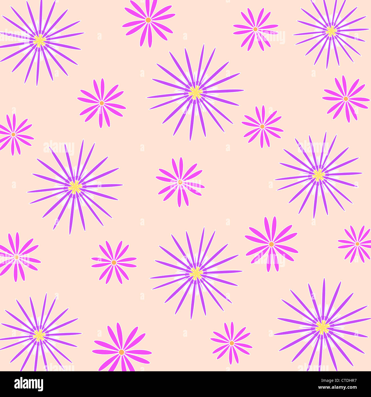 Seamless floral pattern in violet and purple Stock Photo