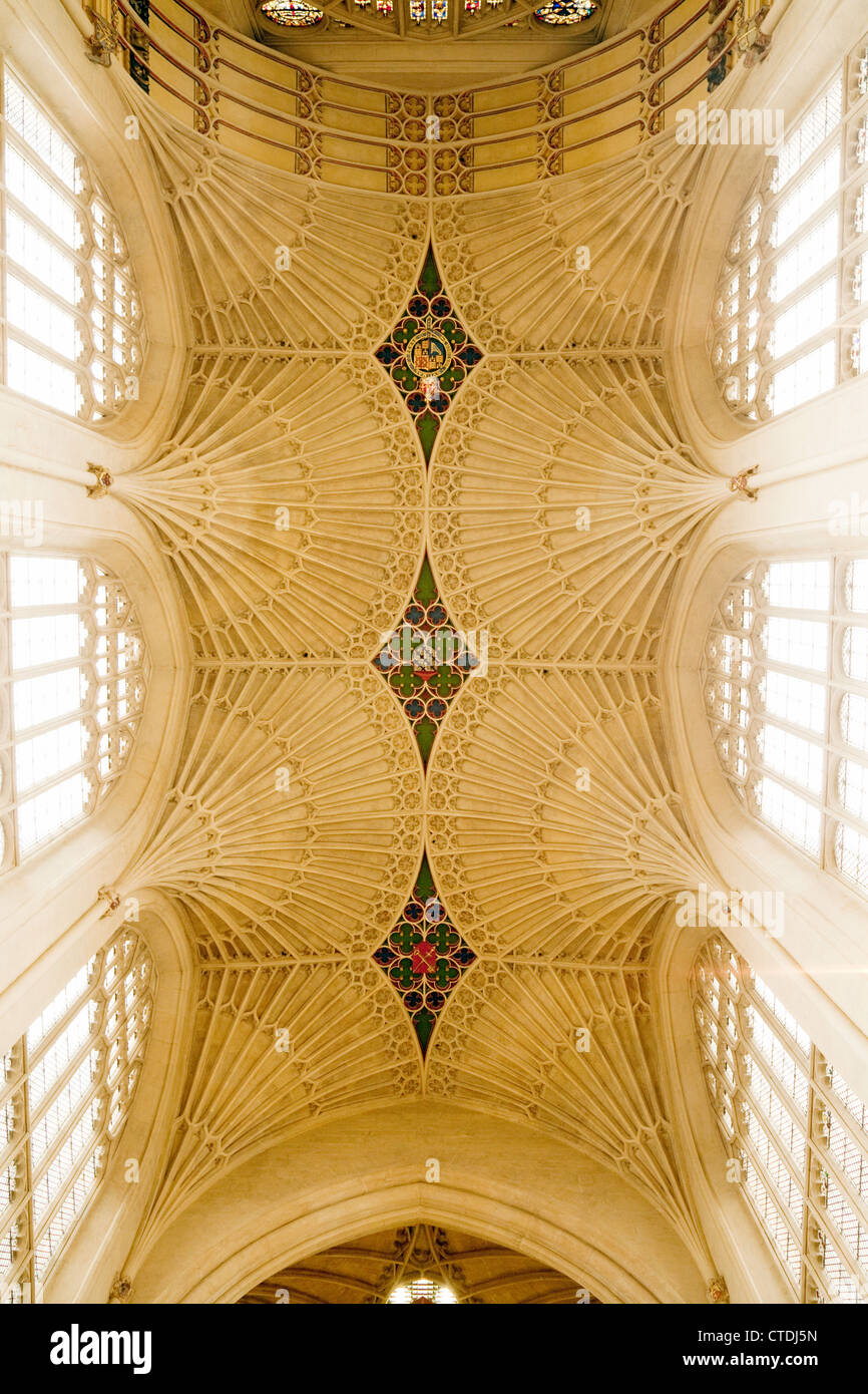 Early 16th century fan ceiling, Bath Abbey, Somerset, UK - Stock Image