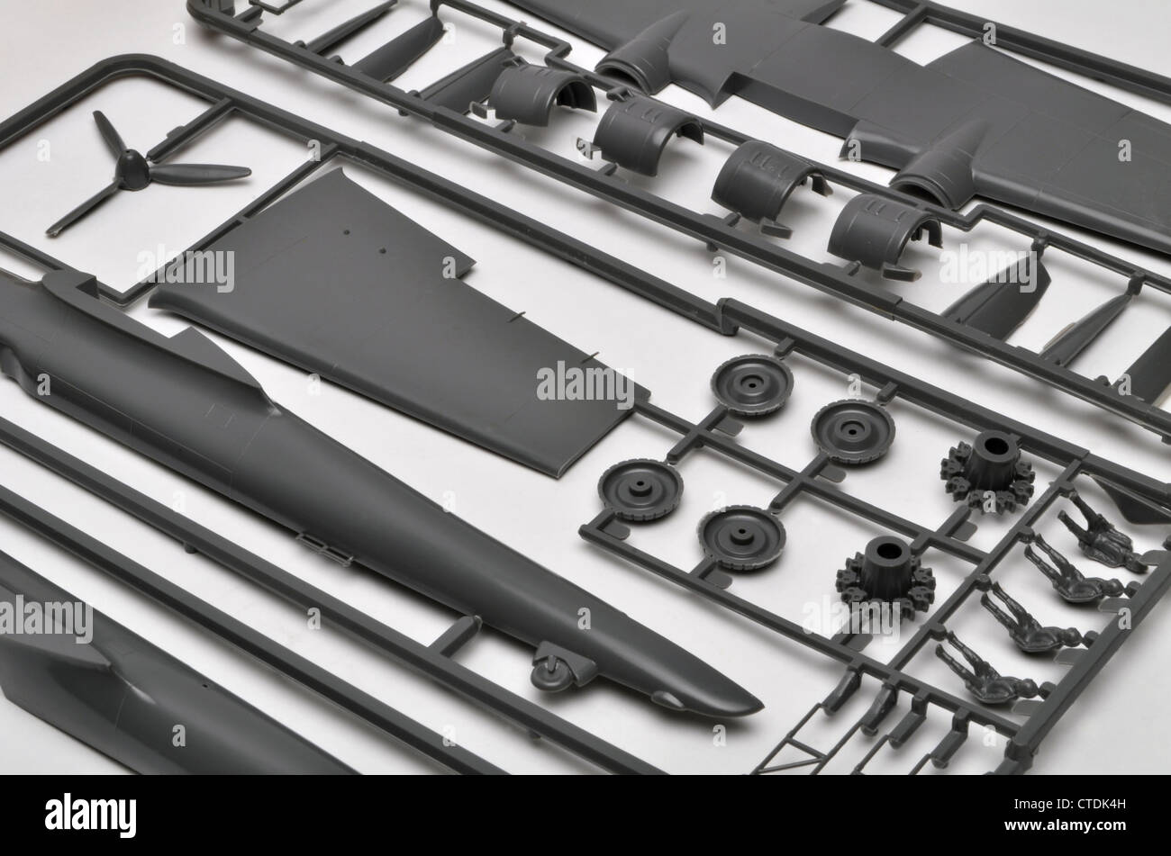 Frog 1/72 Scale Dornier Do-17 polystyrene plastic model aircraft construction kit parts on sprues. - Stock Image