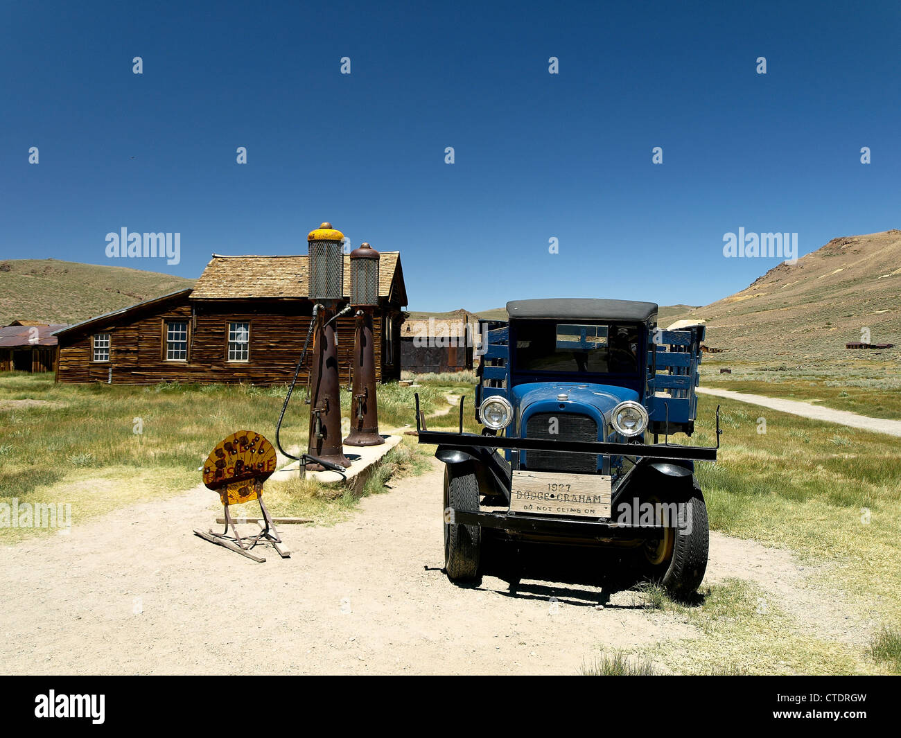 An old truck at a gas station in Bodie, a ghost town in California, United States. - Stock Image