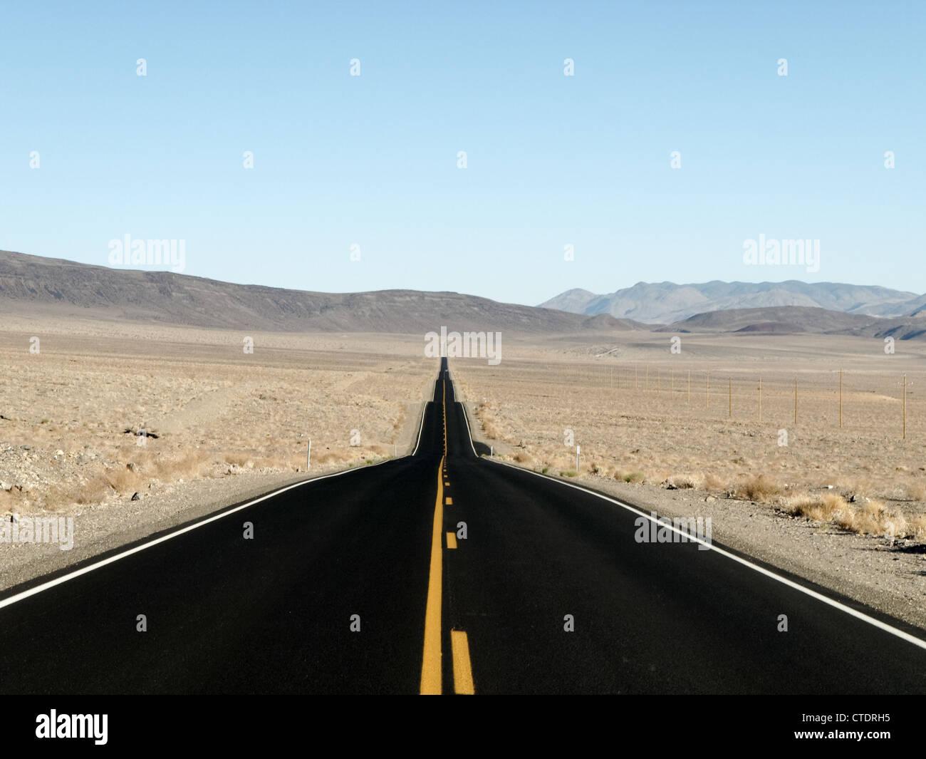 Straight Highway Through The Desert In Arizona Symbol Of The Stock
