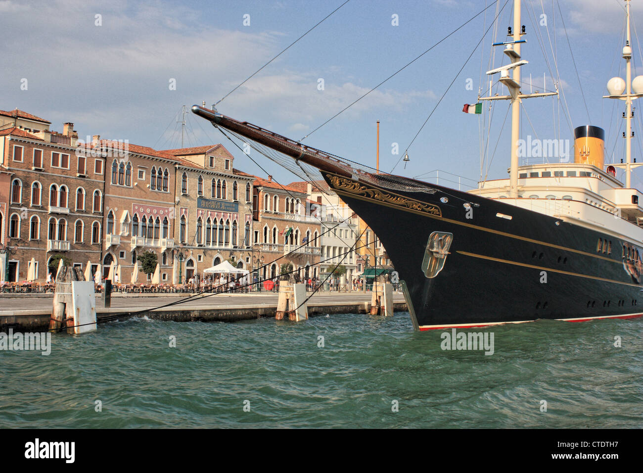 Classic motor yacht Nero, IMO 1008449, (built by Corsair Yachts) moored at Zattere waterfront - Stock Image