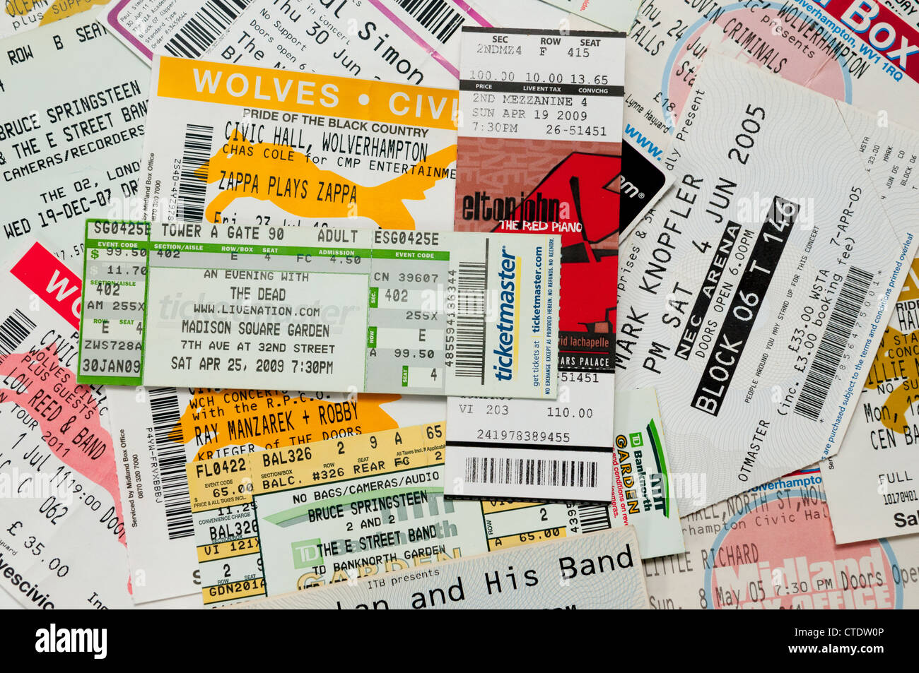 A pile of concert tickets - Stock Image