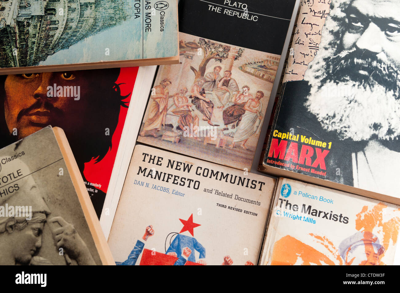 Pile of political and philosophical books - Stock Image