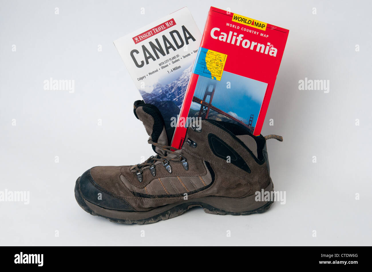 California maps stock photos california maps stock images alamy walking boot with canada and california maps stock image gumiabroncs Image collections