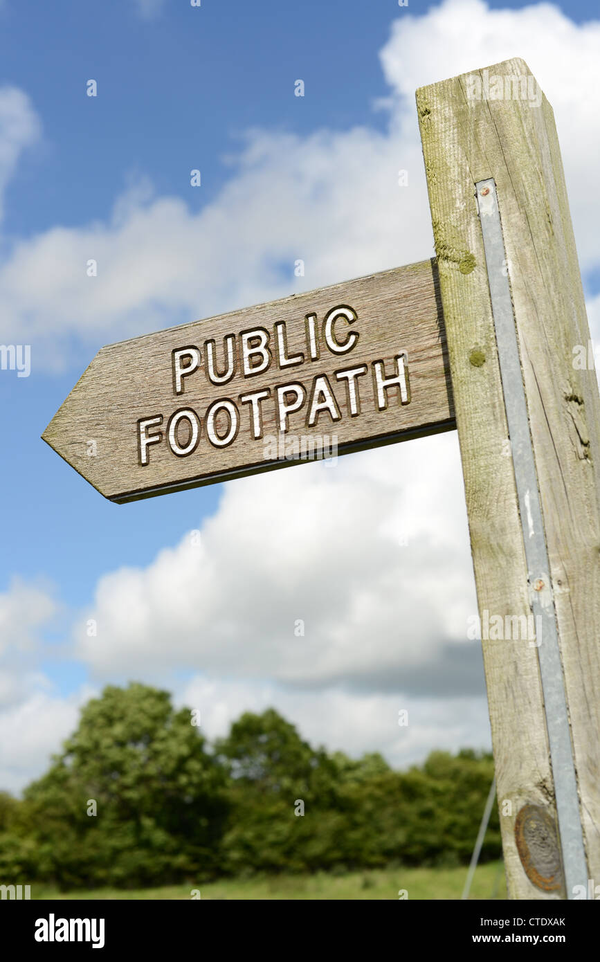 Public footpath sign in the UK countryside - Stock Image