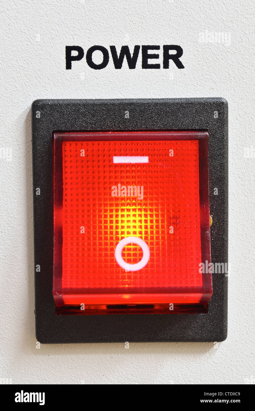 big detailed red power switch - Stock Image
