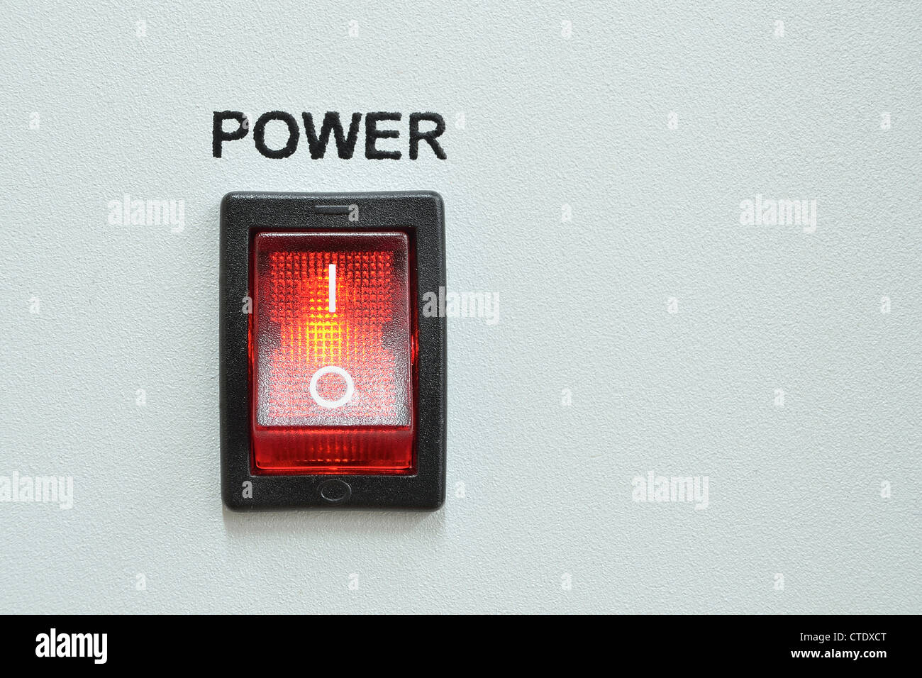 front device panel with detailed red power switch button - Stock Image