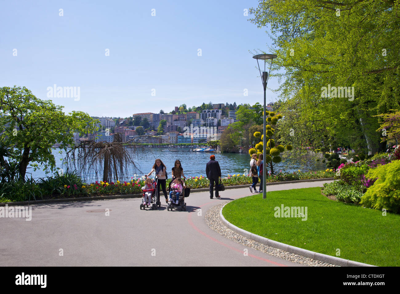 View of city of Lugano from Parco Civico, Lugano, Lake Lugano, Ticino, Switzerland, Europe - Stock Image
