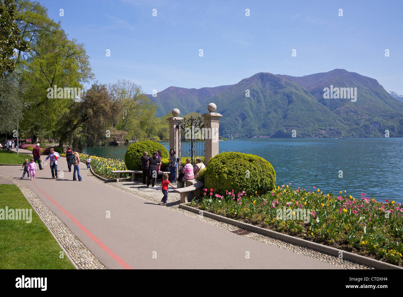 View of lake of Lugano from Parco Civico, Lugano, Lake Lugano, Ticino, Switzerland, Europe - Stock Image