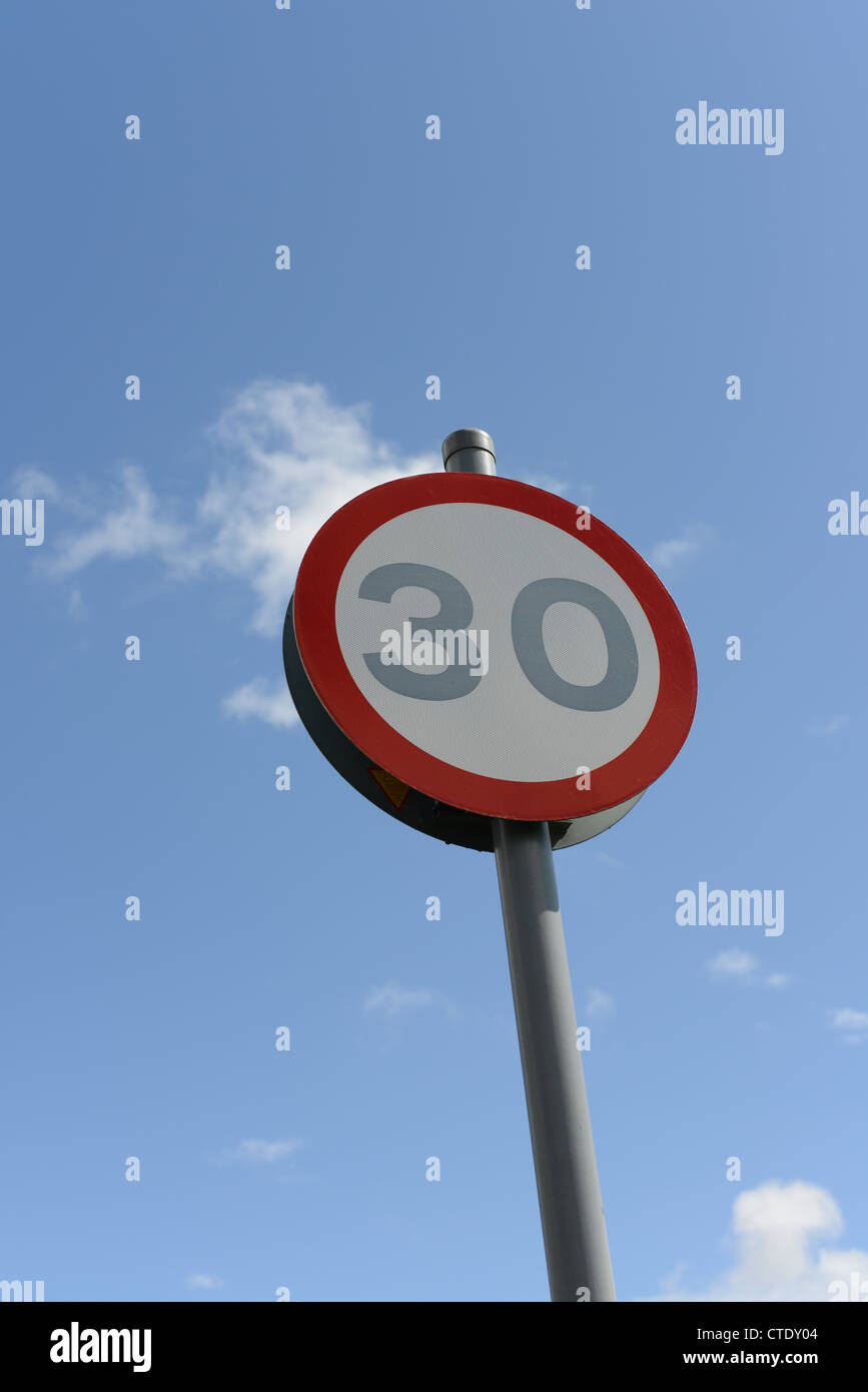 Maximum speed sign against a blue sky - Stock Image