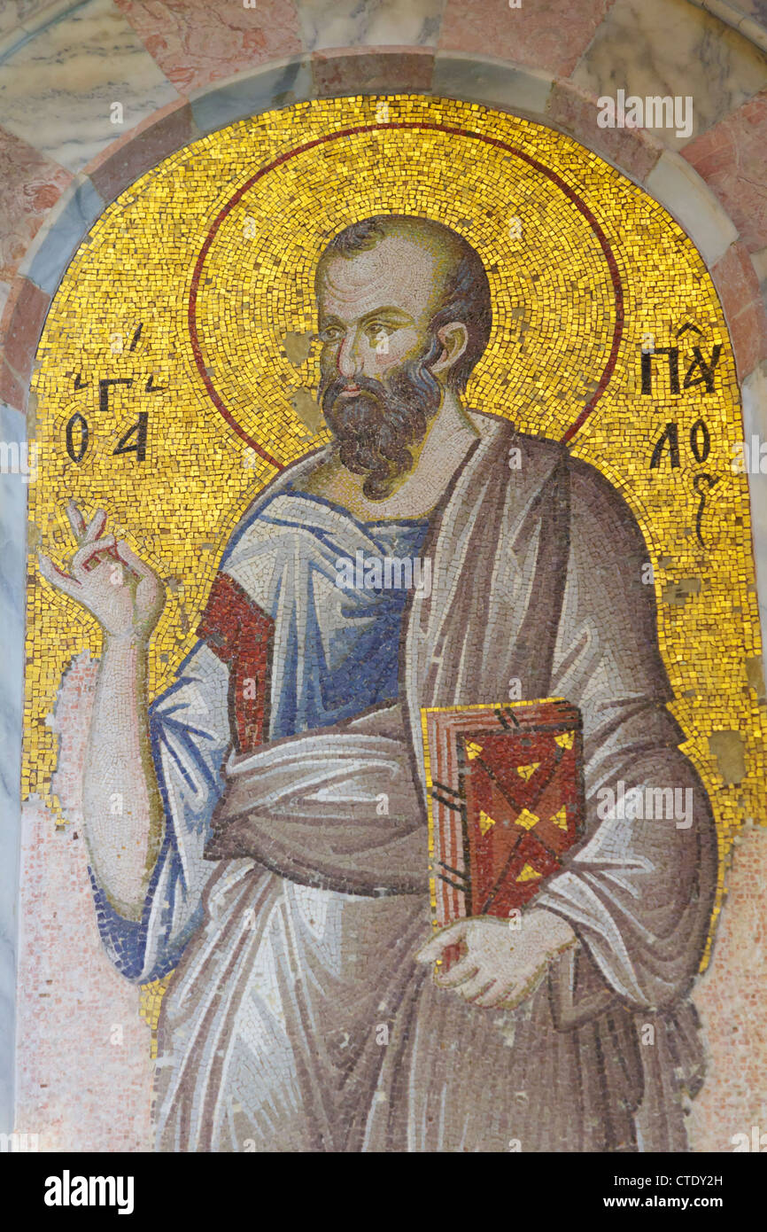 Istanbul, Turkey. Byzantine Church of St. Saviour in Chora. Mosaic of St. Paul holding the gospel. - Stock Image