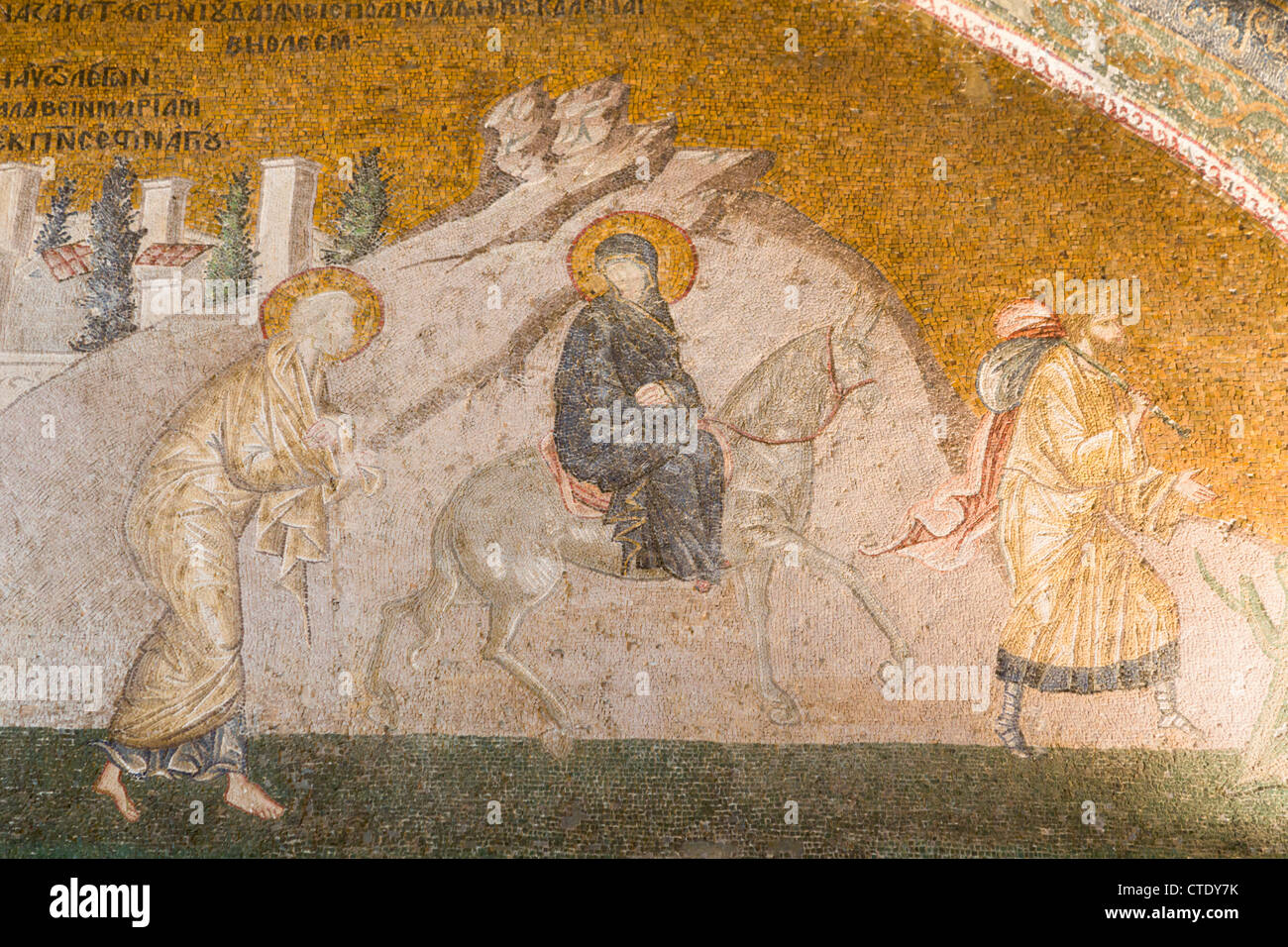 Istanbul, Turkey. Byzantine Church of St. Saviour in Chora. Mosaic of The Virgin Mary and Joseph on the journey - Stock Image