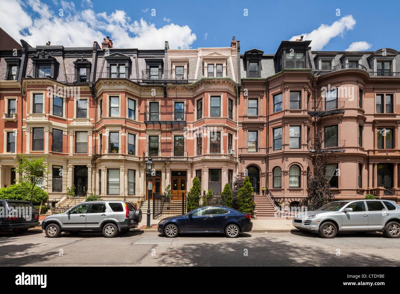 Commonwealth Avenue Victorian Houses, Boston - Stock Image