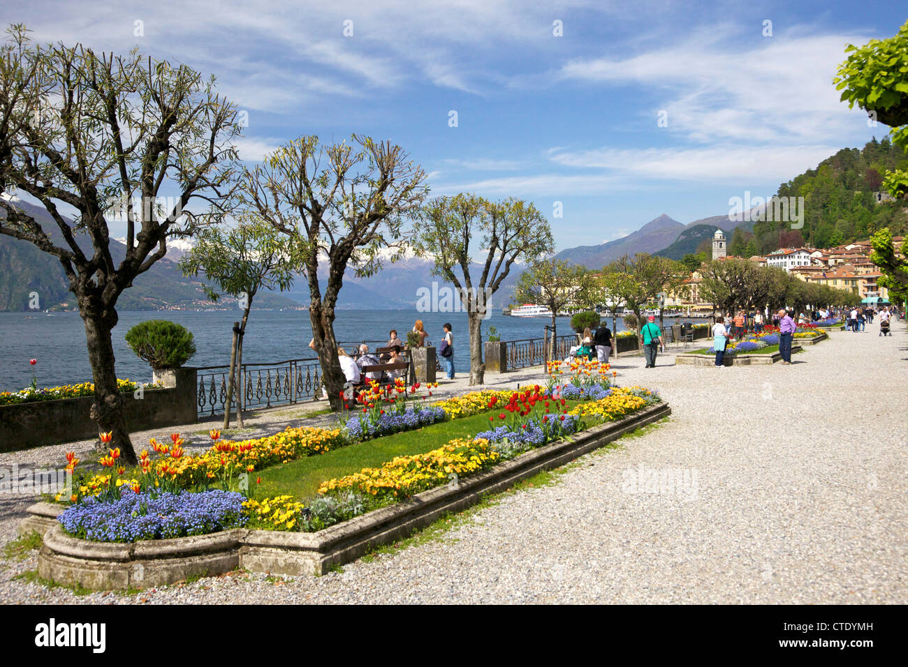 Public gardens in spring, Bellagio, Lake Como, Italy, Europe - Stock Image