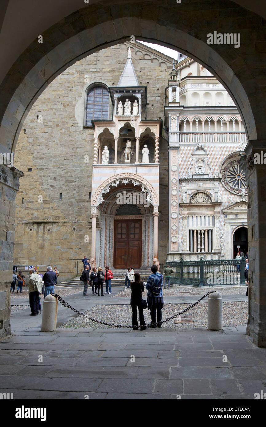 Piazza del Duomo, Santa Maria Maggiore church, Bergamo, Lombardy, Italy Stock Photo