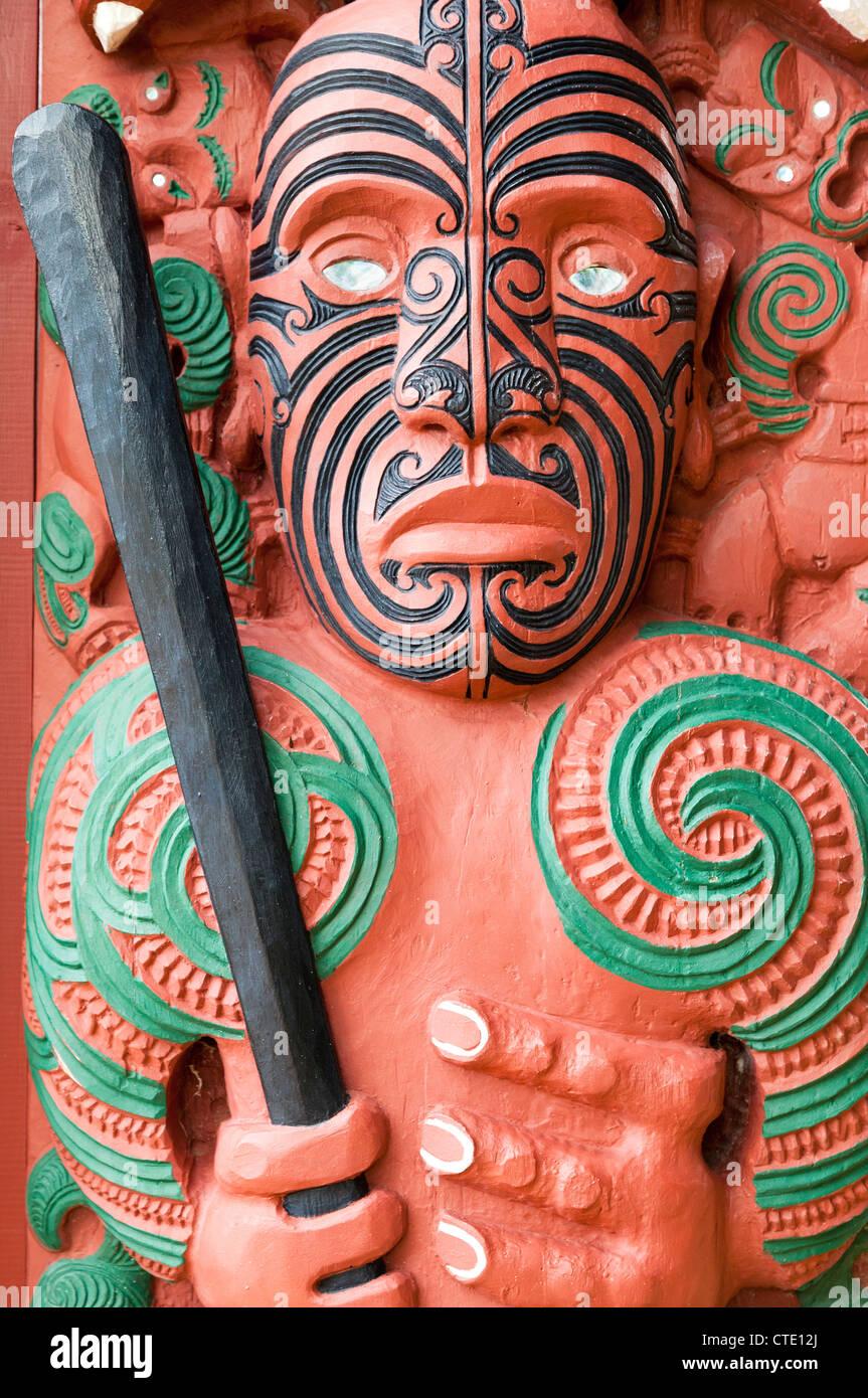Maori carving, Waitangi, New Zealand Stock Photo
