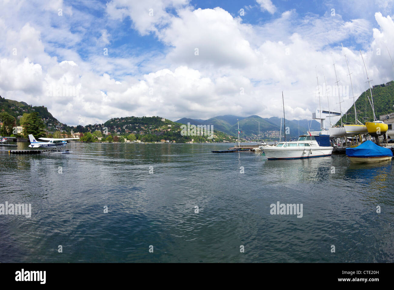Cessna Seaplane and yachts at the Aero Club on Lake Como, Northern Italy, Europe Stock Photo