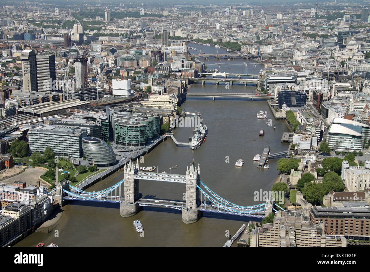 aerial view of London centre with the River Thames, Tower Bridge and County Hall - Stock Image