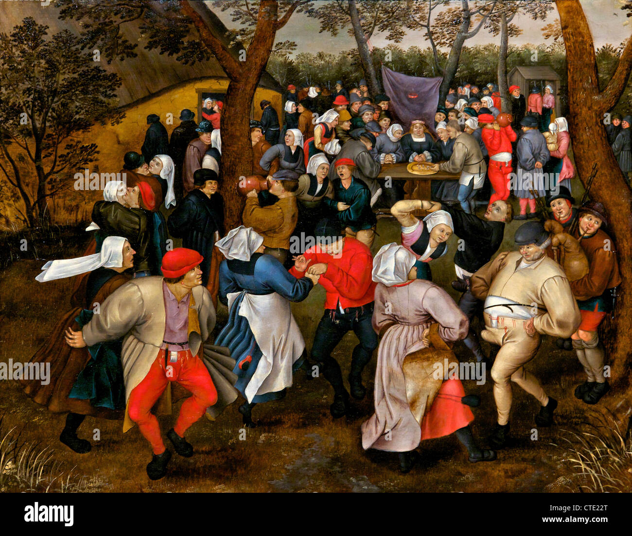 Peasant Wedding Dance, by Pieter Brueghel the Younger, 1607, Musees Royaux des Beaux-Arts, Brussels, Belgium, Europe - Stock Image