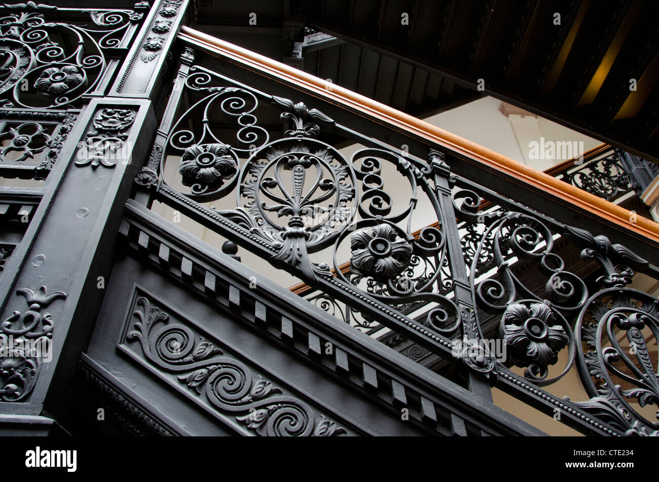 New York, Troy. The Historic Frear Building. Vintage Staircase With Ornate  Wrought