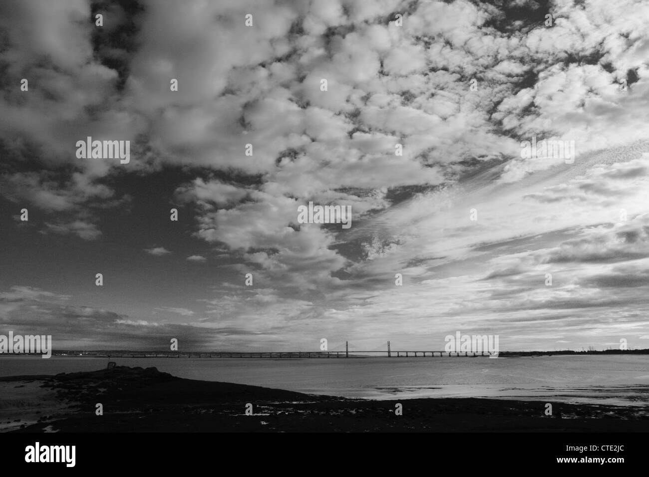 River Severn and the M4 Severn crossing. - Stock Image