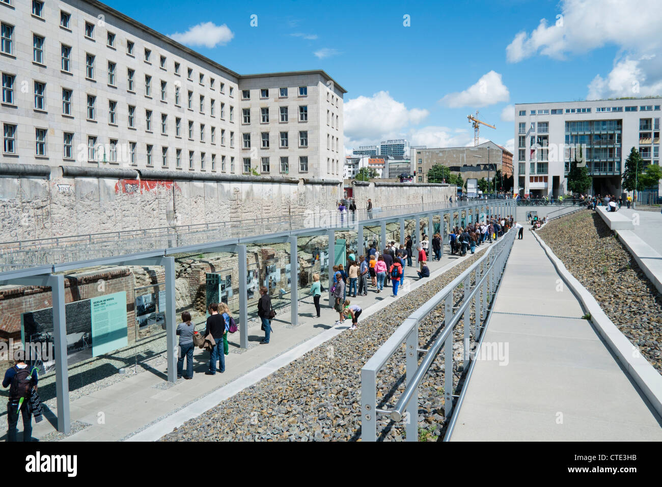 Exhibition Topography of Terror at site of former Gestapo Headquarters in Berlin Germany - Stock Image