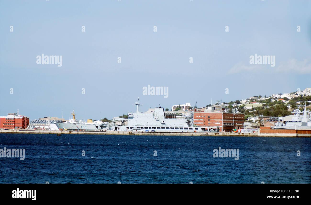 South African Naval base Simon's Town. Fleet replenishment ship A301 SAS Drakensberg - Stock Image